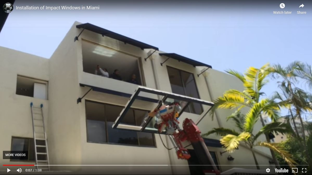 Impact windows residential installation in Miami, Florida
